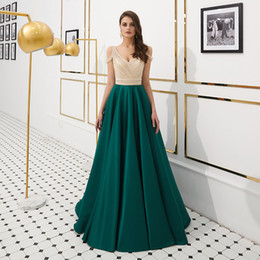 elegant mother bride dresses petite UK - MF004 Cap Sleeve A-Line Dark Green Prom Dresses with Crystals Beading Elegant Dresses for Prom Long Mother of The Bride Evening Dresses