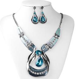 $enCountryForm.capitalKeyWord Australia - Silver Blue Water Drop Rhinestone Pendant Necklace Stud Earrings Bride Fashion Jewelry Set
