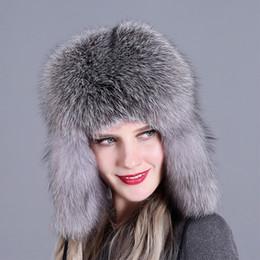 a18cac769ae Earflap Trapper Hat Australia - Women Autumn Winter Trapper Real Fox Fur  Natural Cap Thick Snow
