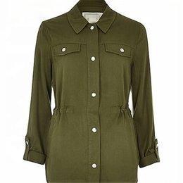 Square Shirt women online shopping - Varsity reflective Ladies Apparel Green Casual Dress Shirts For Women