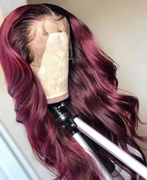 $enCountryForm.capitalKeyWord Australia - Ombre Human Hair Full Lace Wig Loose Wavy Burgundy Two Tone 1B 99J Glueless Lace Front Full Lace Wigs Ombre Hair Wig