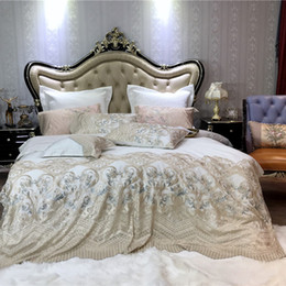 quilts for twin size beds Australia - 100S cotton Bedding Sets king Size Quilt Cover Bed Sheet Pillowcase Bed Cover Set for lace embroidery Linen 4 7pcs