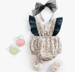 princess toddler romper 2019 - Summer baby romper INS infant kids floral printed lace-up Bows princess romper toddler kids falbala fly sleeve jumpsuits