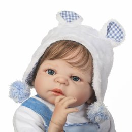 realistic baby boy dolls Canada - 57CM lifelike Reborn Baby boy Doll Full Silicone Vinyl Bebes Reborn Realistic Princess Baby Toy Doll For Children's Day Gifts MX200414