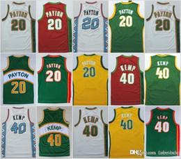 20 Gary Payton yellow green white red Stitched Jerseys Seattle Cheap 40  Shaw Kemp Basketabll Jerseys Free Shipping c09dc177c