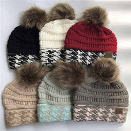 Beanies For Winter Australia - Women Pom Beanies Knit Winter Hat Swallow Gird Warm Knitting Skull Caps Solid Color with Fur Pom Ski Outdoor Golf Hats for christmas party