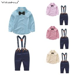 tuxedo suit pink bow tie Australia - Yilaku Baby Boys Clothing Sets Gentleman Outfits Toddler Boy Tuxedo Suits Bow Tie Shirts + Suspender Pants FF461