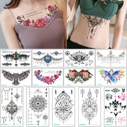 Wholesale women chest breast for sale - Group buy 24x13 cm BC Chest Temporary Tattoo Sticker Waist Back Breast Skeleton Design Jewelry Necklace for Women Fashion Waterproof Body Art Tattoos
