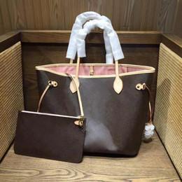 Toptan satış Sıcak Vintage Klasik kadın Tote 2 Parça Tote Çanta Moda High-end Omuz Çantası Deri Debriyaj Çanta Cüzdan Ücretsiz Kargo 40156