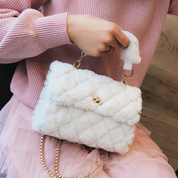 Plush Bag Lady Australia - Korean Fashion Sweet Lady Tote Bag 2019 Winter New Quality Soft Plush Women's Designer Handbag Chain Shoulder Messenger Bags