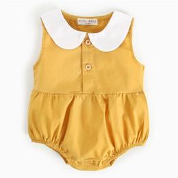 Toddler Leopard Jumpsuit Australia - New INS Toddler Baby Boys Girls Jumpsuits Turn-down Collar 100% Cotton Front Button Sleeveless Onesie Summer Newborn Romper For 0-3T