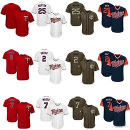 youth blank baseball jersey Australia - Men Women Youth MinnesotaTwins Jerseys 2 Dozier 7 Mauer 25 Buxton Blank shirts Baseball Jersey White Red Salute to Service Players Weekend