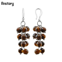China earrings for Cluster Natural Tigers Eye Stone Earrings For Women Vintage Handmade Antique Silver Plated Fashion Jewelry cheap vintage copper earrings dangle suppliers