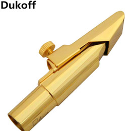 Best Quality Professional Dukoff Tenor Soprano Alto Saxophone Metal Mouthpiece Gold Lacquer Mouthpiece Sax Dukoff on Sale