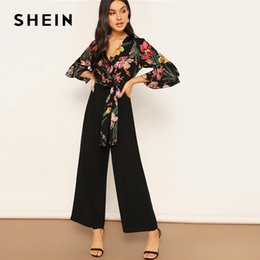 Elegant Jumpsuits Sleeves Australia - wholesale Lady Elegant Floral Print Wrap Bodice Wide Leg Jumpsuit Spring Deep V Neck Knot Hem Flounce Sleeve Workwear Jumpsuits