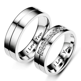09d6634f0d Valentine's Day Gift 1 Piece Simple Alloy Titanium Steel Couple Ring L Love  You for Fashion Men and Women Engagement Promise Wedding Ring