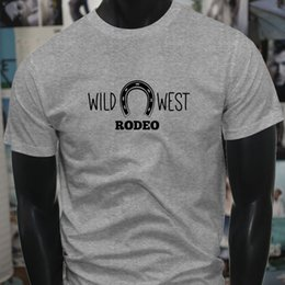 $enCountryForm.capitalKeyWord NZ - Wild West Rodeo Horse Shoe Country Western Cowboy Mens Gray T-Shirt T Shirt For Men Great Short Sleeve Crewneck Cotton Plus Size Couple