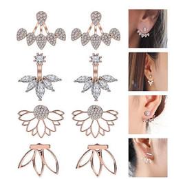 Jackets Studs Australia - Jewelry Ear Jacket Lotus Flower Earrings Stud Jacket Earrings Simple Chic Earrings Back Cuffs Stud Earring sets