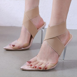 $enCountryForm.capitalKeyWord Australia - Plus size 35 to 40 41 42 elastic band cross strap nude transparent PVC clear high heels luxury women designer shoes