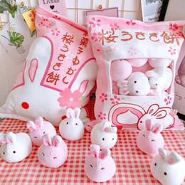 Plush Throw Pillows Australia - A bag of rabbit pudding plush toys simulation snack throw pillow kawaii pink sakura rabbit plush creative toys for children baby