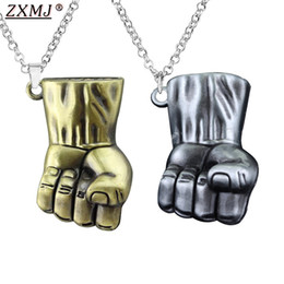 Marvel necklaces online shopping - ZXMJ Marvel Fist Necklace invincible Hulk D stereo Fist Pendant necklace Movie around metal colors for fans gift