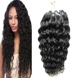 Discount blonde human hair micro extensions - kinky curly micro loop hair extensions 100G Remy Micro Bead Hair Loop Human Pre Bonded Extension 1G s micro ring hair ex