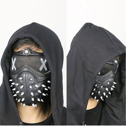 Plastic wrenches online shopping - Minch Watch Dogs Mask WD2 Mask Marcus Holloway Wrench Cosplay Halloween Rivet Face Masks Half Face PVC Plastic Party Props