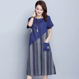 973e9faf224b Women Dress Summer Ladies Cotton Linen Stripe Patchwork Midi Dress Short  Sleeve O Neck Vintage Mid-Calf Vestido Pocket