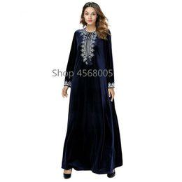 fbb17264736 Plus size muslim women clothing online shopping - Velvet Abayas For Women  Embroidery Dark Blue Muslim