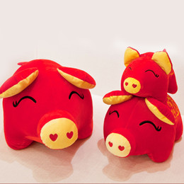 $enCountryForm.capitalKeyWord NZ - Cute Chinese Zodiac Kids Home Soft Pig Plush Doll New Year Stuffed Toy Gift Decorations Spring Festival Car Red For 2019