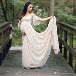 off white maternity wedding dress Canada - Champagne Full Lace Vintage Maternity Off the Shoulders Pregnant Bridal Dress Bride Wedding Dresses Baby Shower Beach Plus Size Party Wear