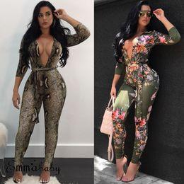 b852be6d2eafc Brand New 2019 Women Sexy Deep V-neck Long Sleeve Stretch Print Jumpsuit  Romper Long Blouse Top Bodysuit Leotard Plus Size S-2XL