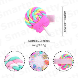 polymer clay babies UK - Baby Girls Barrettes Cute Polymer Clay Rainbow Lollipop Bobby Pin Princess Rainbow Hairpin Kid Candy Color Cloud Hair Accessories E31201