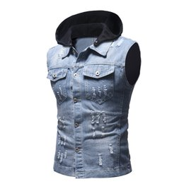 bcc18e6bba3 Autumn winter men ripped distressed jeans vest vintage sleeveless denim  jacket men s casual hooded vest slim fit gilet homme