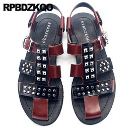 flat studs NZ - Brown Genuine Leather Flat Italian Size 45 2020Casual Sandals Designer Shoes Men High Quality Large Metal Rivet Summer Stud