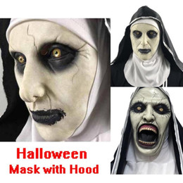 Wholesale nun cosplay online – ideas Halloween Nun Mask Scared Female Face Wig Celebrations Theme Party Cosplay Bar Performances Night Performances Carnival Horror mask