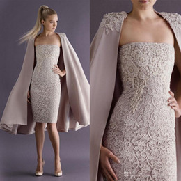 Paolo Sebastian Silver Australia - Paolo Sebastian Cocktail Dresses with Long Coat Knee-length Strapless Lace Short Prom Dress Evening Wear Sheath Occasion Party Gowns