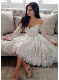 $enCountryForm.capitalKeyWord Australia - Long Sleeve Off-the-Shoulder Knee Length White Homecoming Dress Sweetheart Custom Made 2019 Lace Short Prom Dresses