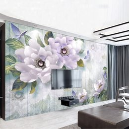 large flower backdrop UK - Youe Shone 2020 Noble Gorgeous Purple European Wallpaper 3d Flower TV Backdrop Custom Photo Wallpaper Large Mural Wall Stickers