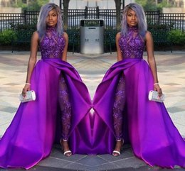 China 2020 Classic Prom Jumpsuits Dresses With Detachable Train High Neck Lace Appliqued Bead Evening Gowns Luxury African Party Women Pant Suits cheap satin evening suit suppliers