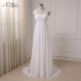 $enCountryForm.capitalKeyWord Australia - Adln 2019 In Stock Chiffon Beach Wedding Dresses Vestido De Noiva Cap Sleeve Empire Lace-up Back Pregnant Bridal Dress Y19072901