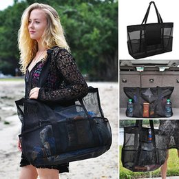 Wholesale Fashion Multi Compartment Storage Bag Wash Basket Swimming Beach Bag New Mesh Nylon Beach Bag