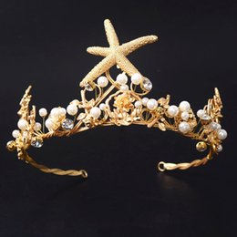 Discount starfish wedding hair - tiara wedding Vintage Gold Starfish Crowns Pearl Bridal Tiara Wedding Hair Jewelry Bridal Headbands Women Perty Headpiec