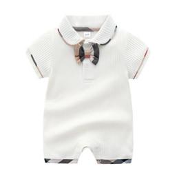 Designer Baby romper infant boys plait Bows tie cotton jumpsuits infant girls lattice lapel short sleeve climb clothes baby diaper F5484 on Sale