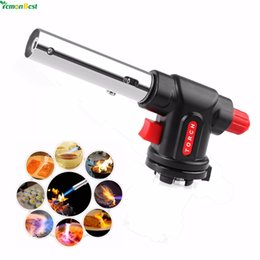bbq igniter Multi-function Culinary Torch Auto Ignition Flamethrower Butane Burner Gas Torch for Camping Welding BBQ on Sale