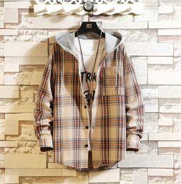 Lamb jackets men online shopping - Europe ParisMens Jackets Hooded Jackets Plus Velvet Coat Plaid Woolen Lamb Hair Cotton Coat Mens Clothing Large size M XL