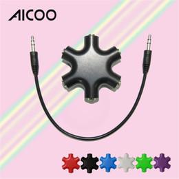 Music Audio Converter Australia - AICOO Colorful Snowflake Audio Converter Multifunction One for Five Portable Music Sharer 6*3.5mm Splitter OPP