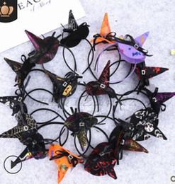 Head products online shopping - Halloween Hair Hoop Witch Ornament Little Hat Head Buckle Hot sale Product Butterfly Knot Yarn Holiday Hair Accessories