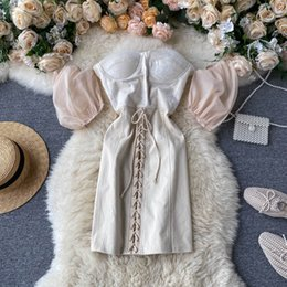 korea women party dress Canada - High Quality 2020 Summer Korea Fashion Women Elegant Slim Puff Sleeve Strapless Empire Short Party Dress H718