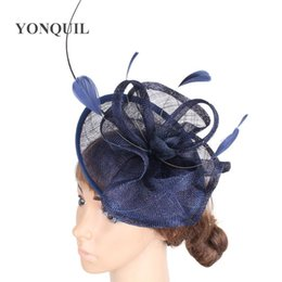 Elegante Partito Vintage Cappello donna Fascinators di Sinamay fasce del Pillbox cappelli da sposa Headwear Races Derby Accessori per capelli Syf272 BDihA